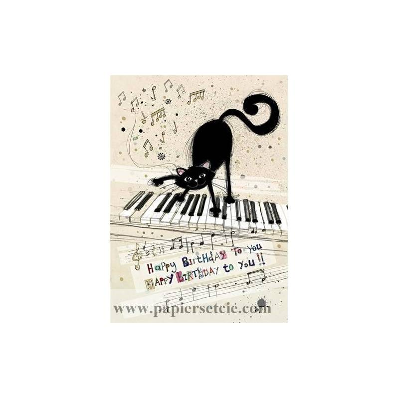 Carterie ChatsCarte Double Happy Birthday Chat Au Piano