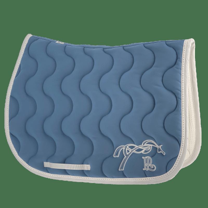 tapis de selle point sellier classique bleu lagon blanc