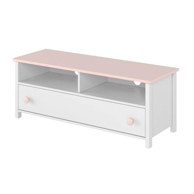 meuble tv blanc et rose luna pour chambre enfant