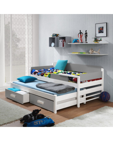 lit gigogne dois blanc et gris pour chambre enfant