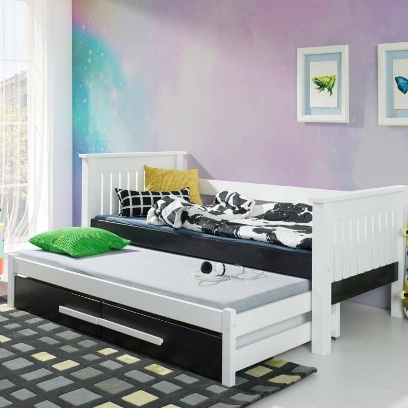 lit gigogne blanc telmo avec structure renforcee pour chambre enfant