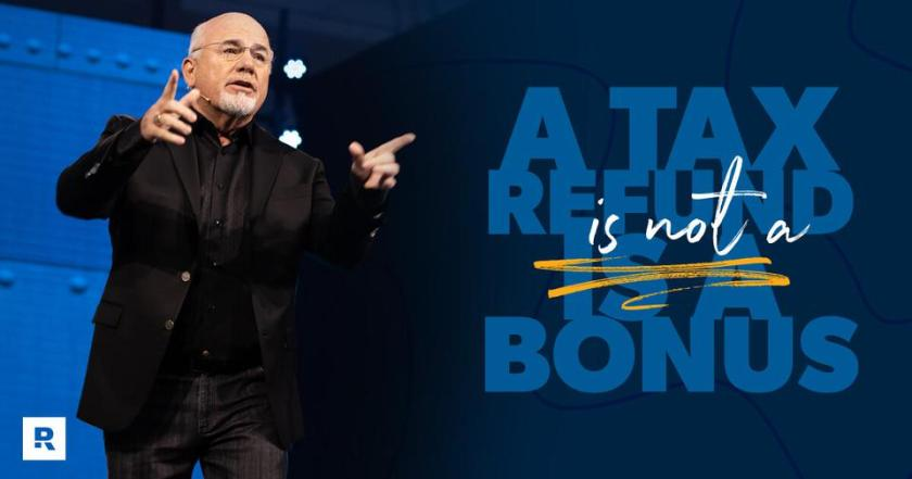 Dave Ramsey speaking on a stage.