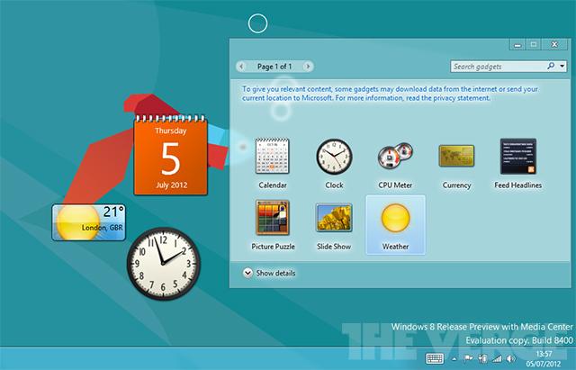Windows 8 desktop gadgets