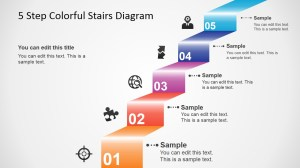 5 Step Colorful Stairs Diagram for PowerPoint  SlideModel