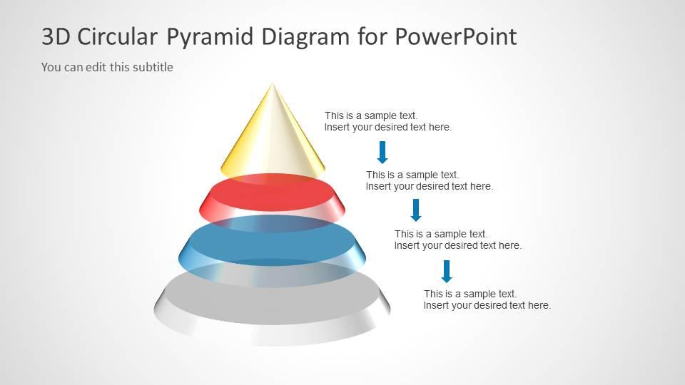 3D Circular Pyramid Diagram For PowerPoint SlideModel