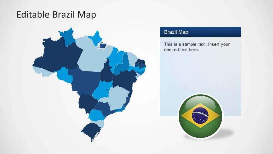 Editable Brazil Map Template for PowerPoint   SlideModel     Editable PowerPoint Map of Brazil with Individual States