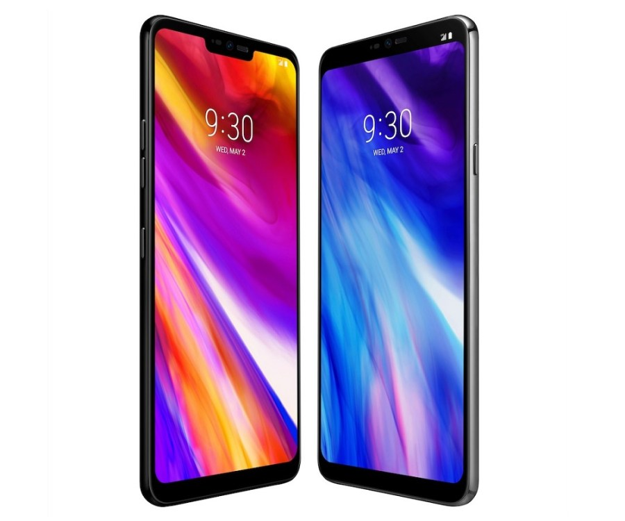 "Frente del LG G7 ThinQ en colores ""New Aurora Black"" y ""New Platinum Gray""."