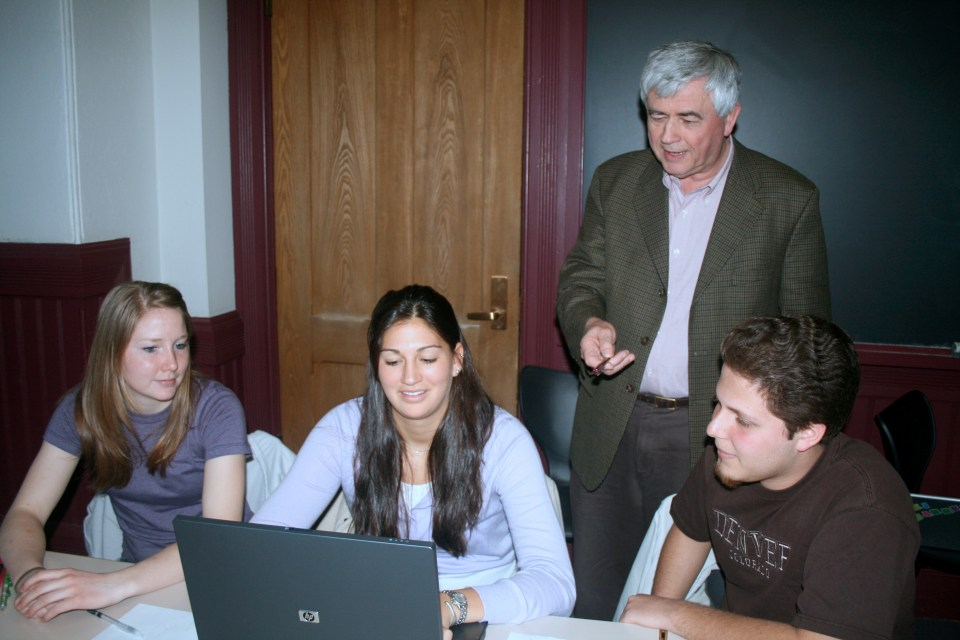 Max Essex with Undergraduate Students