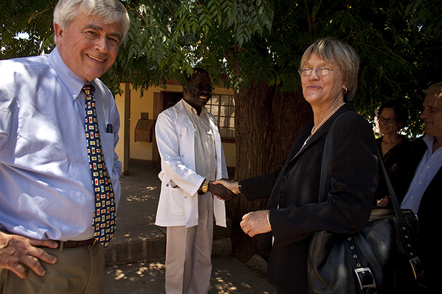 Max Essex, Chair of HAI, and Drew Gilpin Faust, President of Harvard, visit a clinic in Botswana
