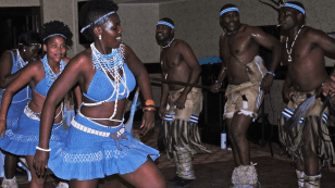 7:33 p.m. At dinner in honor of Faust's visit to Botswana, entertainment is provided by Dikakapa, a group that performs traditionally-inspired dances and songs. Photo by Greg Kelebonye