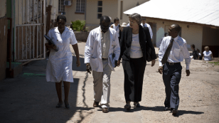 Faust walks from the hospital to nearby research clinics.