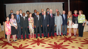 The HSPH delegation at a dinner with the President of Tanzania. Dean Julio Frenk is in the center of the front row with President Jakaya Kikwete to the left.