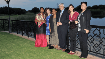 Prof. Max Essex and others involved with the Botswana-Harvard Partnership enjoyed the sunset before dinner at Phakalane Resort in Gaborone. From left to right: Onalenna Nthase, Dr. Rebeca Plank, Dr. Aida Asmelash, Prof. Max Essex, Dr. Shahin Lockman and Dr. Marina Anderson. Drs. Lockman and Anderson both have MHPs from the Harvard School of Public Health.