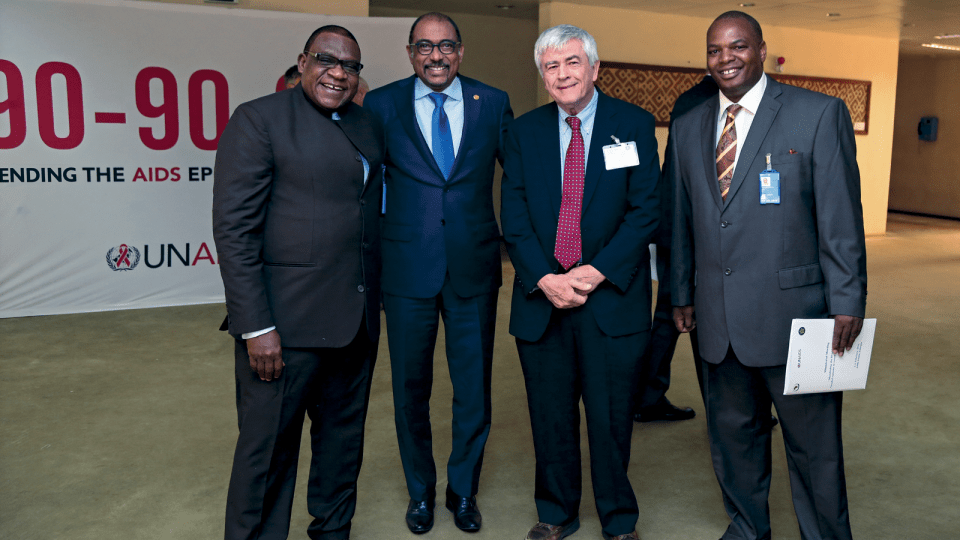 From left: Lyorlumun Uhaa, UNICEF; Michel Sidibé, UNAIDS; Max Essex, Harvard AIDS Initiative; Pride Chigwedere, UNAIDS, at a meeting for African Leaders in Addis Ababa. Photo by Aida Muluneh