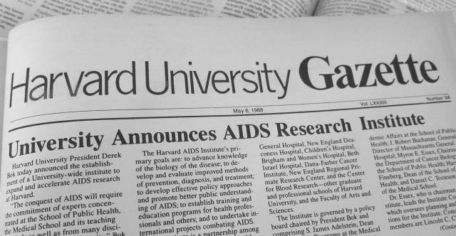 Headline of Harvard Gazette for May 6, 1988: University Announces AIDS Research Institute
