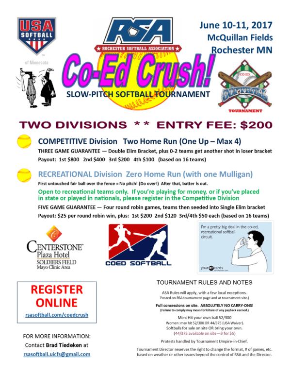 RSA Coed Crush Softball Tournament