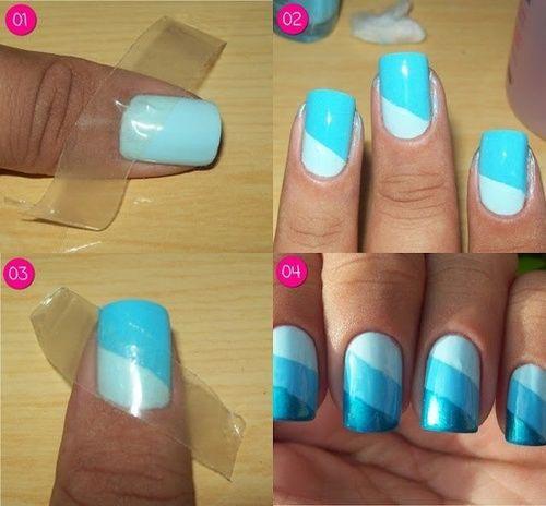 Too Blue Striped Nail Art