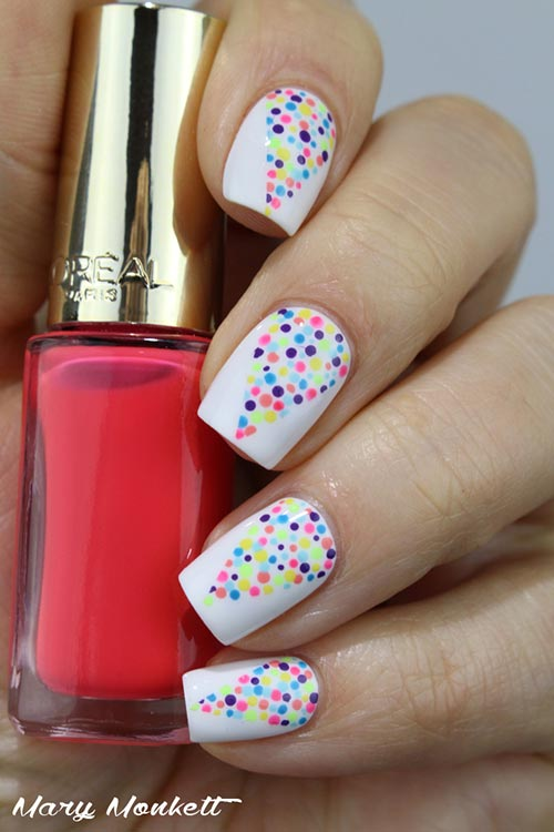 Colorful Holi Nail Art Simple Designs