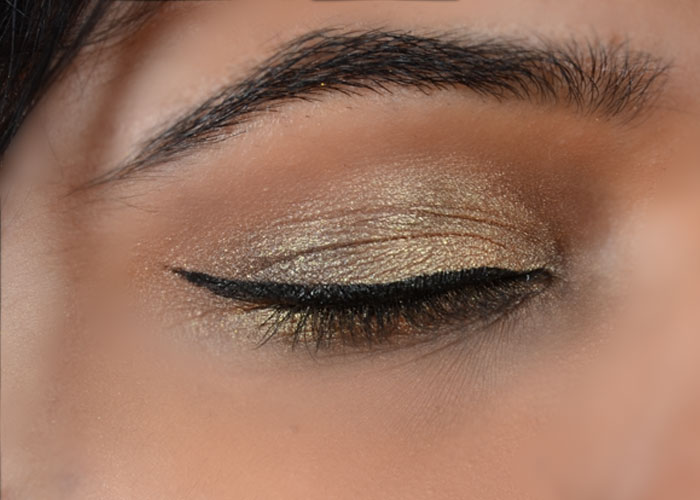 Gold Eye Makeup Tutorial - Step 6: Create Winged Eyeliner