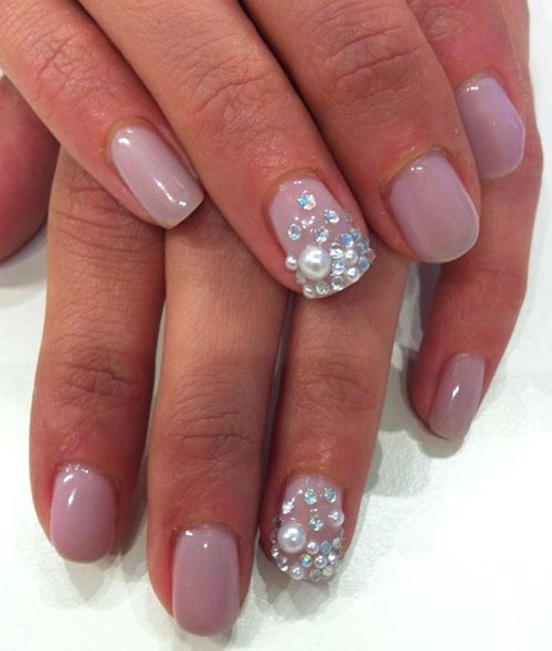 3d Jewels And Soft Pink Nail Art