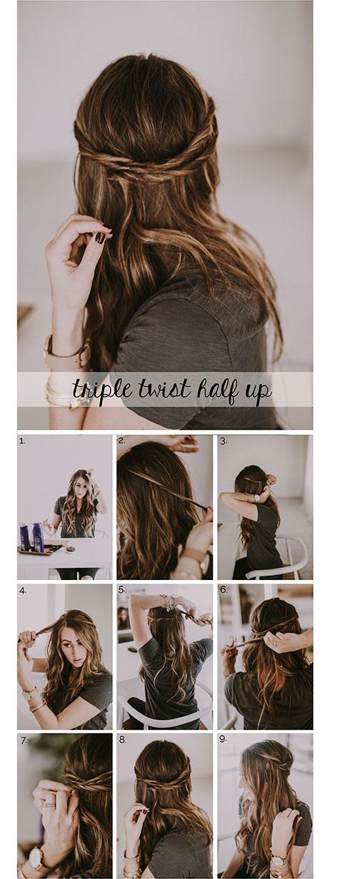 12. Triple Twist Half Up