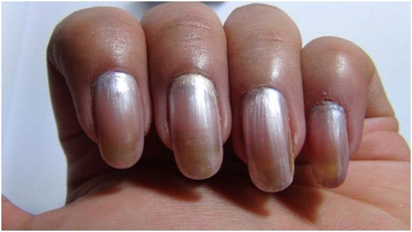 Silver Nail Art Tutorial Step 1 Apply Base Coat Onto The Nails