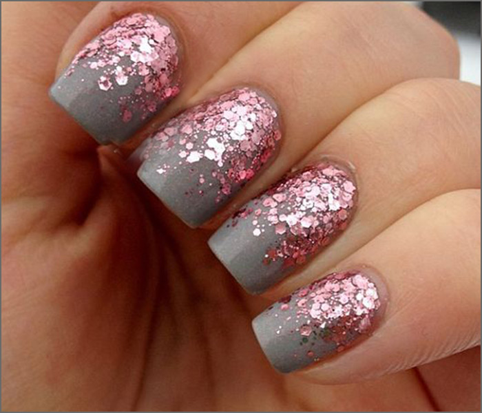 Pink And Grey Glitter Nail Art