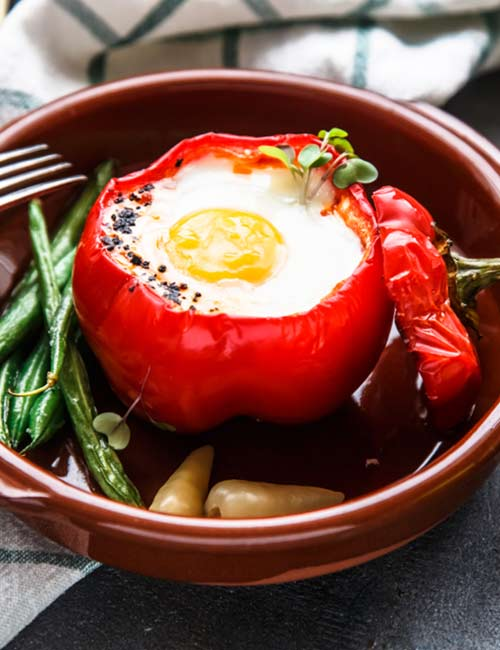 Bell Pepper Egg With Beans