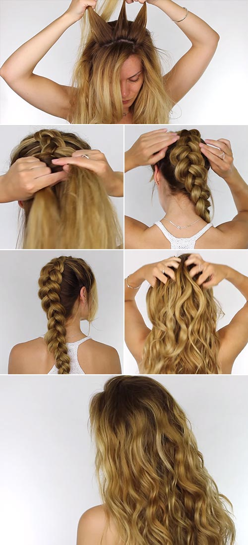 Beach Waves With Single Dutch Braid