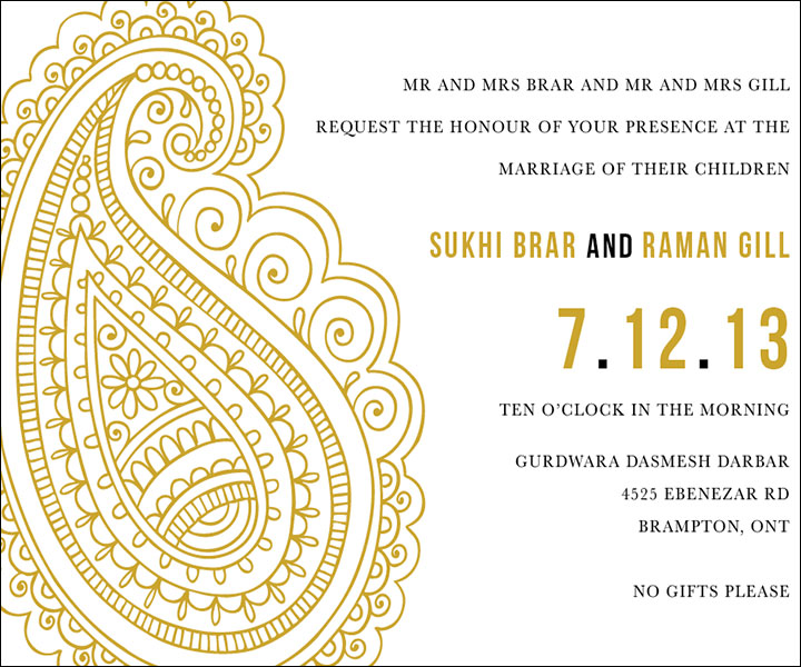 Indian Wedding Invitation Templates Detailed Large Paisley Motif