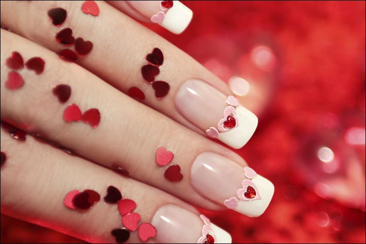 Hearts And Kisses Bridal Nail Art