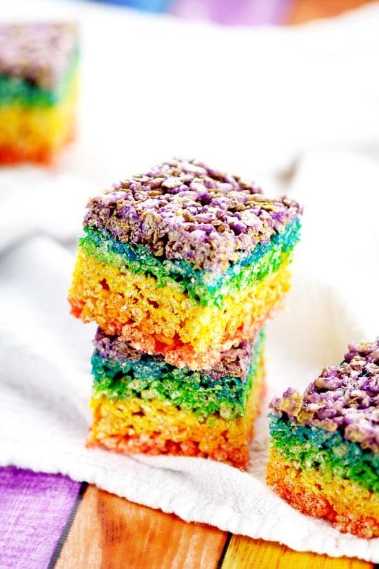 rainbow rice krispie treats the
