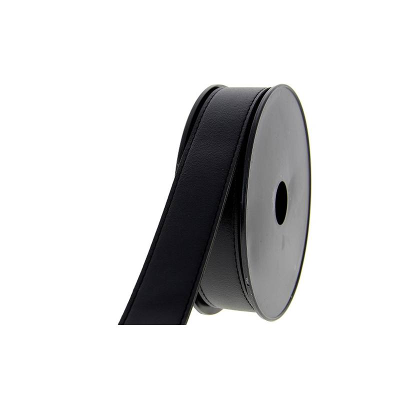 bobine de 6 metres sangle simili cuir noir 30 mm