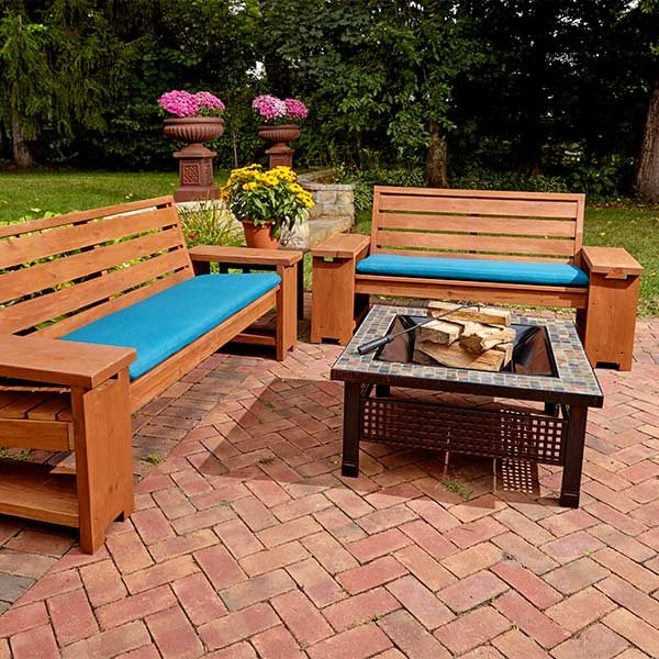 Perfect Patio Combo Wooden Bench Plans With Built In End