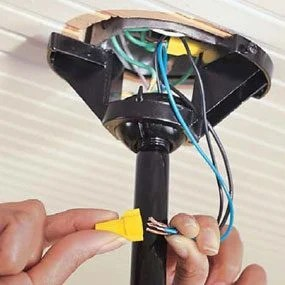 How to Install Ceiling Fans     The Family Handyman Photo 10  Connect ceiling fan wiring at the fan