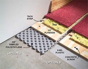 how to carpet a basement floor diy