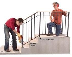 install an outdoor stair railing diy