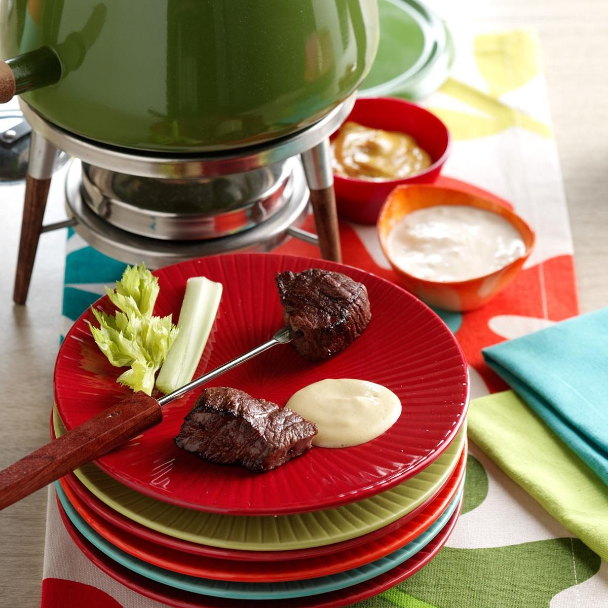 Beef Fondue With Sauces Recipe Taste Of Home