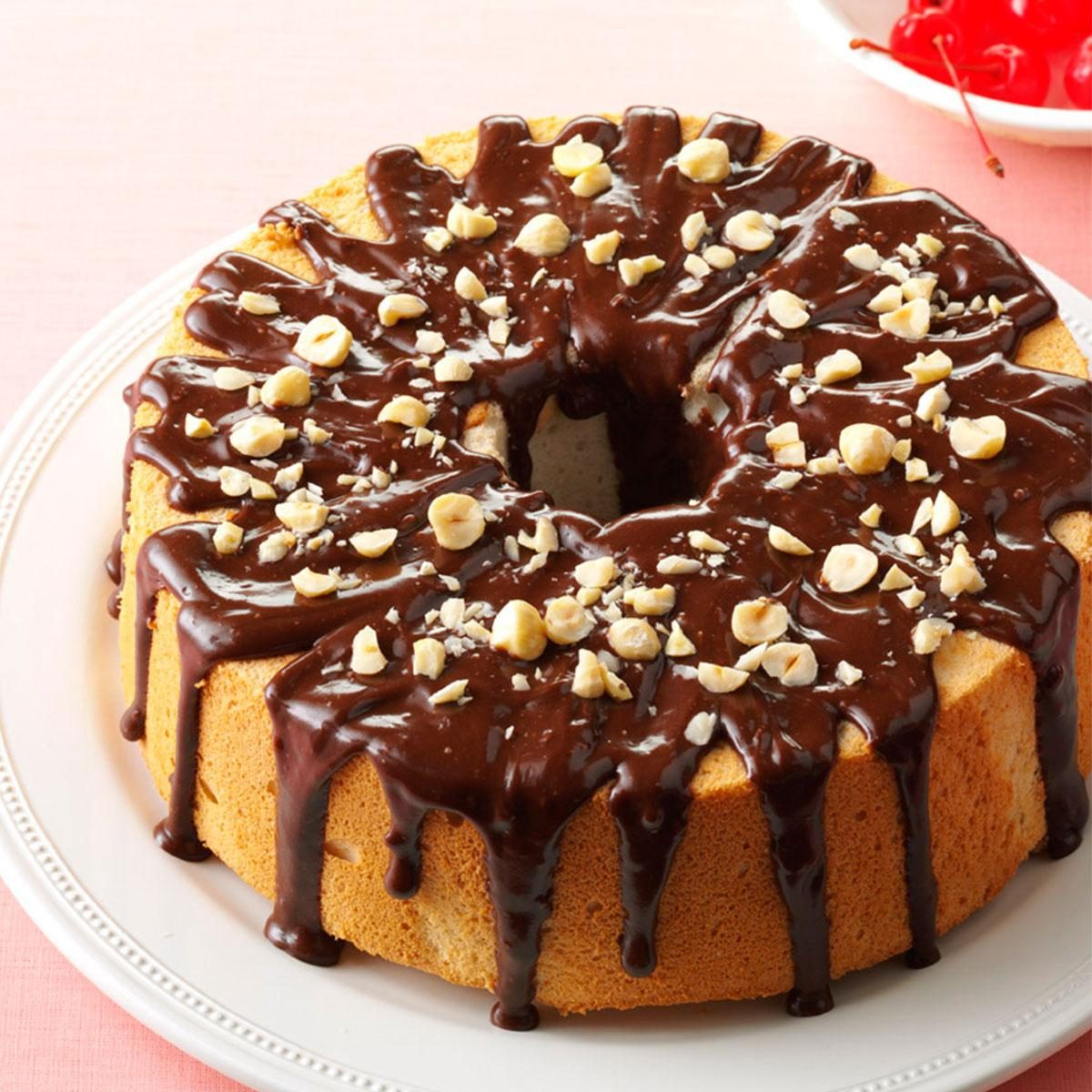 Mocha Hazelnut Glazed Angel Food Cake Recipe
