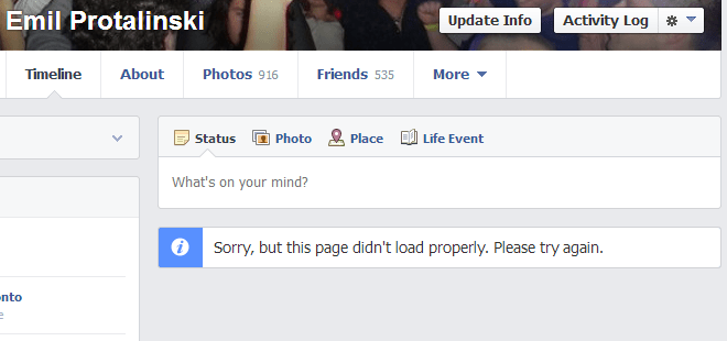 fb profile Facebook is investigating user reports of Timelines on profiles and Pages failing to load (Update: Fixed)