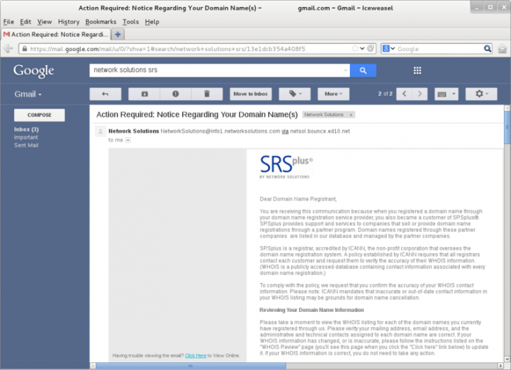 Example of Domain Slamming phishing email by Network Solutions 730x529 So youve got a great domain name: Heres how to protect it from scammers