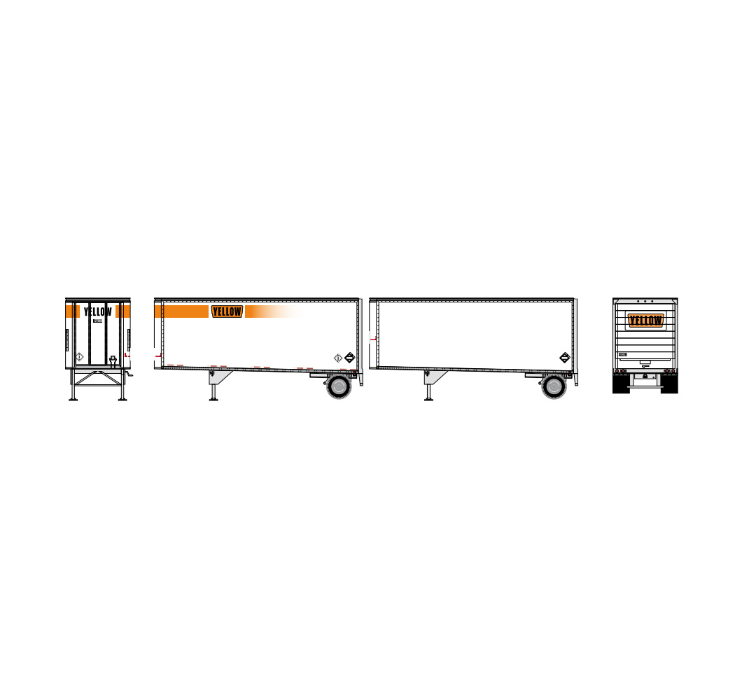 Athearn N Scale 28 Trailer With Dolly 2pk Yellow 1