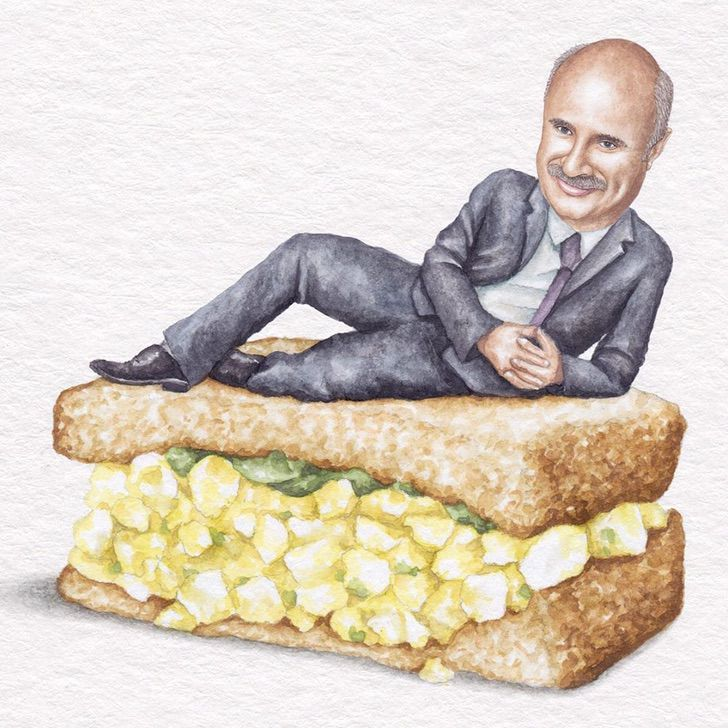 3 20 - Artista abre el apetito con los famosos posando sobre deliciosos sándwiches