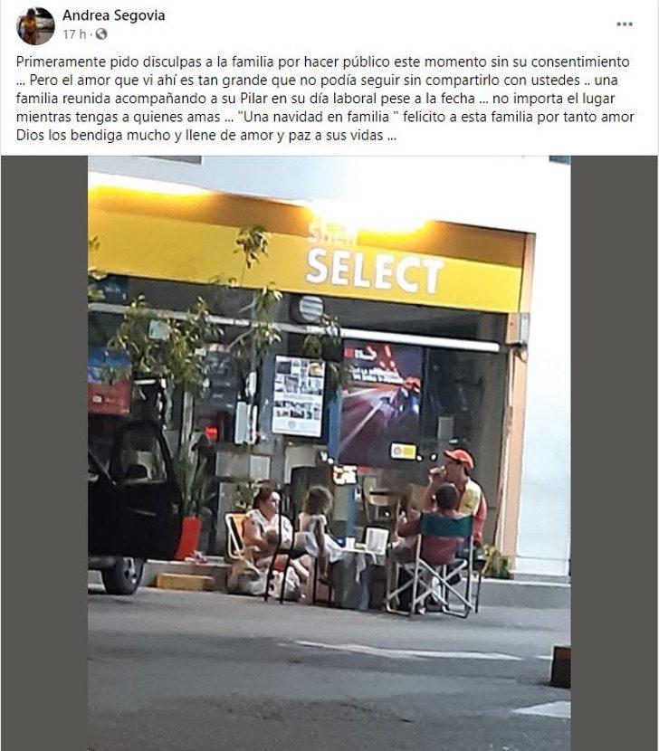FAMILIA NAVIDAD ESTACION DE SERVICIO TRABAJANDO - Captan a familia cenando con papá en el trabajo durante Nochebuena. Llevaron su mesa a la gasolinera