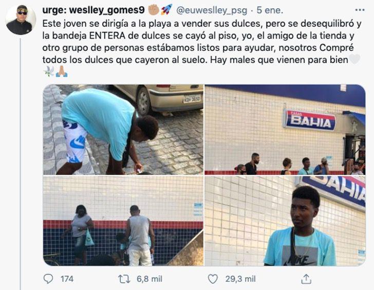 vendedor dulces brasil ayuda amigos vecinos corazon0000 - A vendedor callejero se le caen sus dulces y desconocidos los compran. Ayudaron a quien lo necesitaba