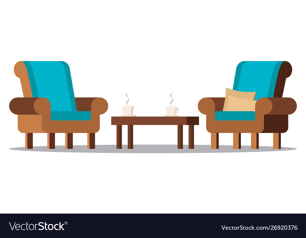 Clip Art Image Cozy Living Room Furniture Vector Image