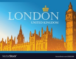 Postcard with palace of westminster in london Vector Image