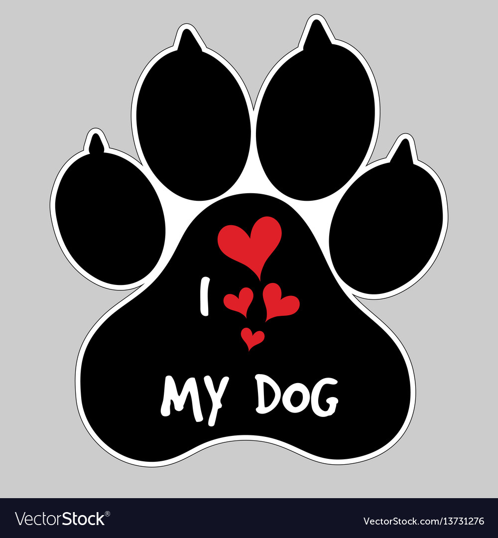 Download I love my dog animal foot paw print button badge Vector Image