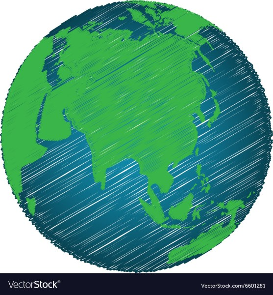 Earth Sketch Hand Draw Focus Asia Continent Vector Image