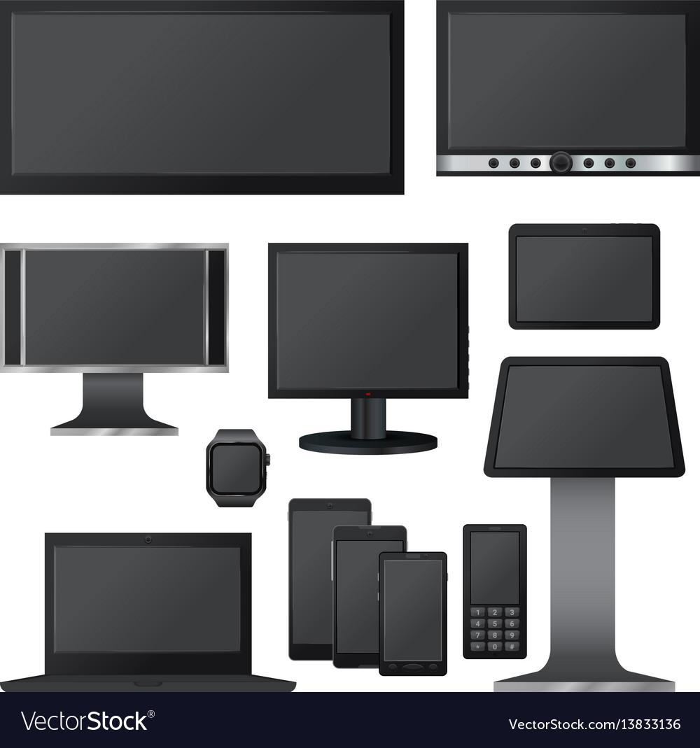 Black Screen Mockup Set Realistic Style Royalty Free Vector